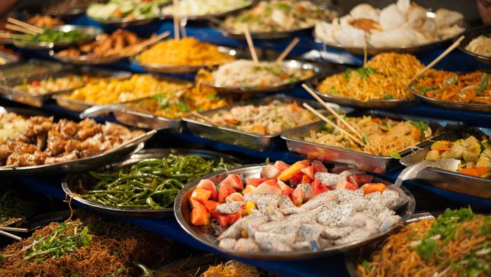 Kuchnia laotańska. Targ w Luang Prabang